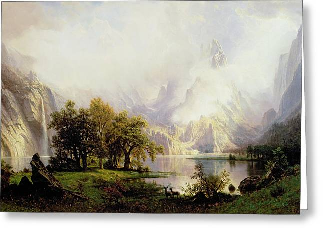 Bierstadt Greeting Cards - Rocky Mountain Landscape Greeting Card by Albert Bierstadt