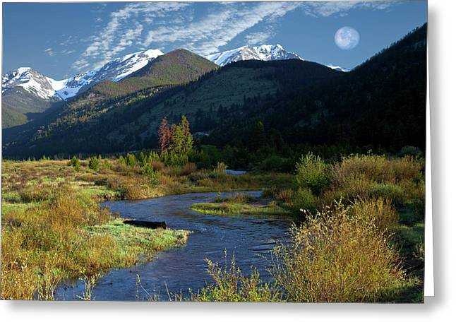 Rocky Mountain Moonrise Greeting Card by Charles Warren