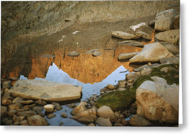 Inverted Color Greeting Cards - Rocky Mountain Peaks Are Reflected Greeting Card by Gordon Wiltsie