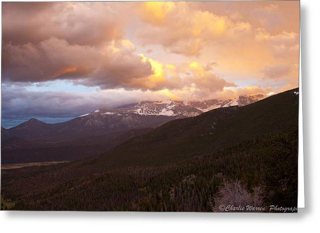Rocky Mountain Sunset Greeting Card by Charles Warren