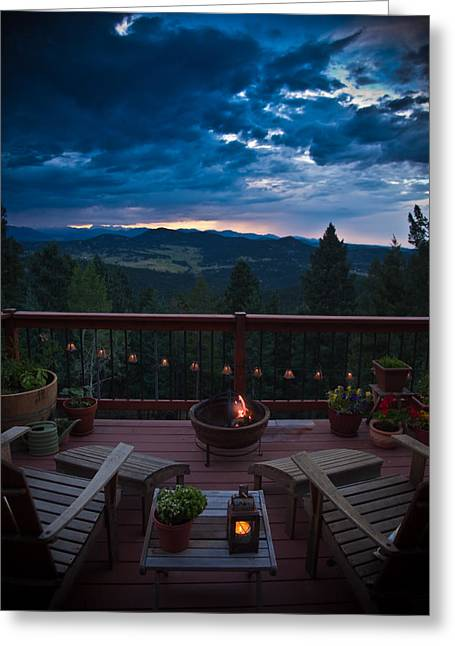 Firepit Greeting Cards - Rocky Mountain View Greeting Card by Patrick  Flynn