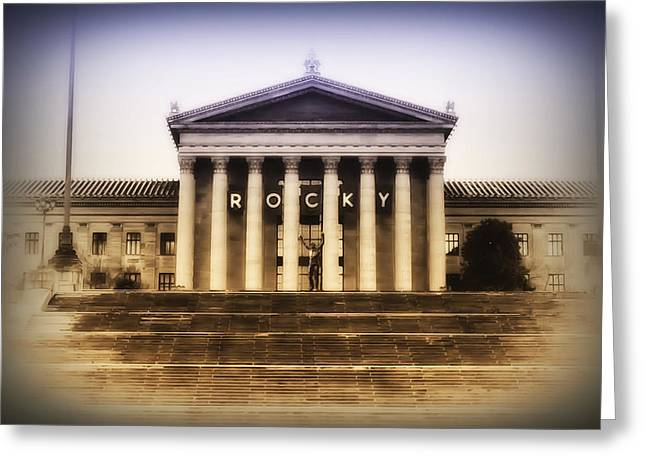 Stallone Digital Art Greeting Cards - Rocky on the Art Museum Steps Greeting Card by Bill Cannon