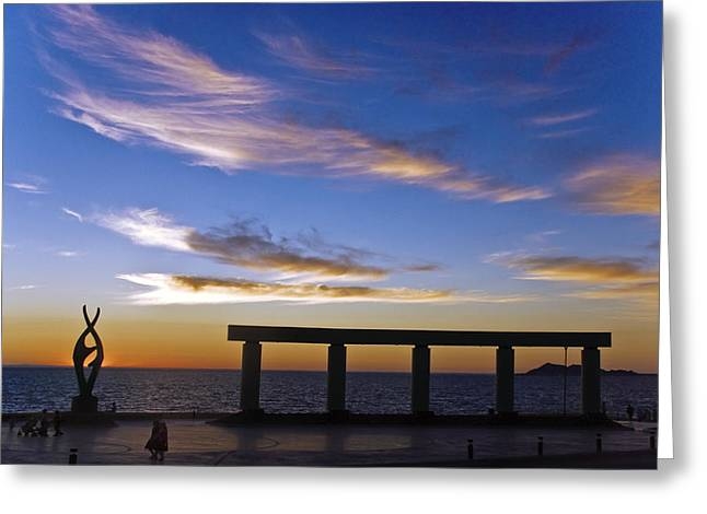 Beachfront Greeting Cards - Rocky Point Mexico beach statue Greeting Card by Dave Dilli