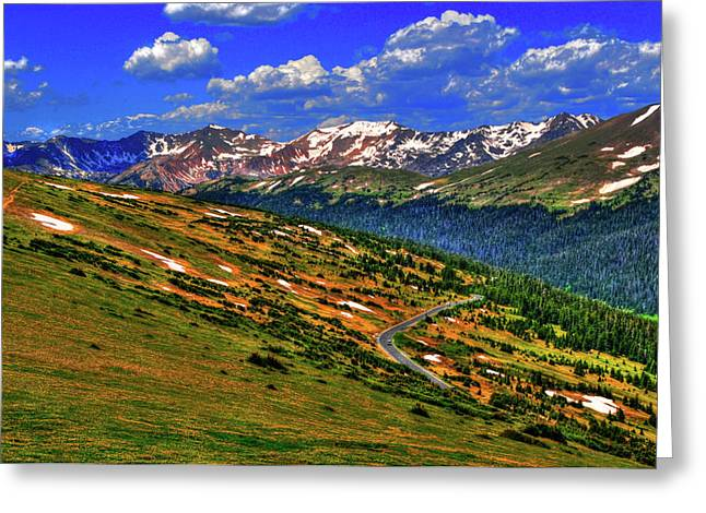 Mountain Road Greeting Cards - Rocky Road Greeting Card by Randy Aveille