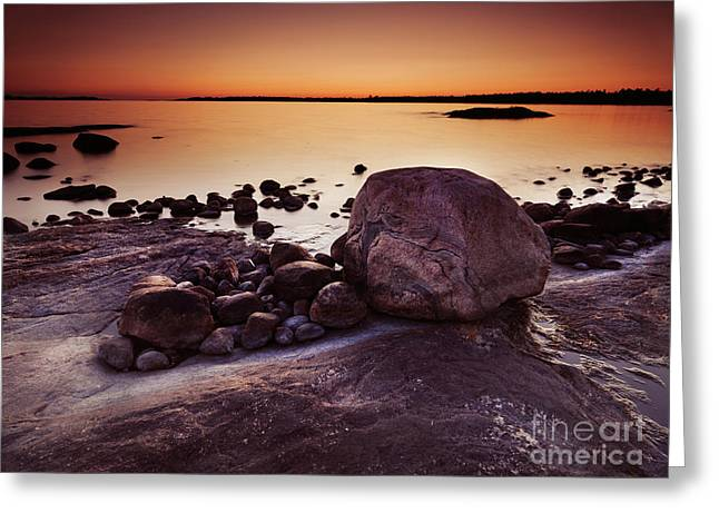 Landsape Greeting Cards - Rocky Shore at Twilight Greeting Card by Oleksiy Maksymenko