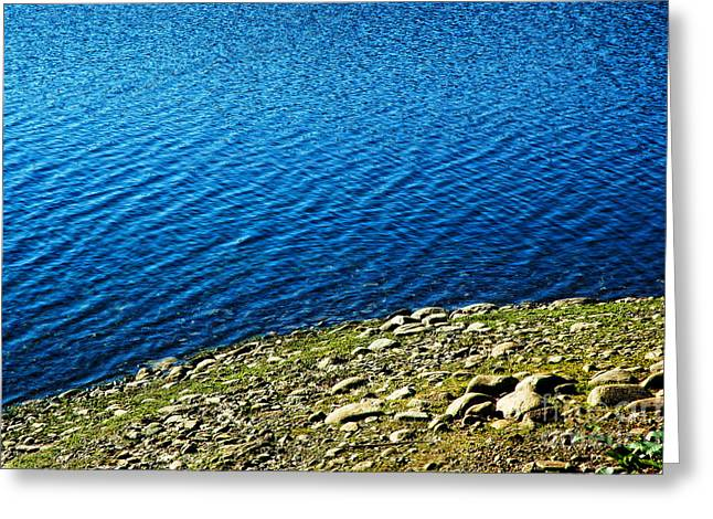 Blue Green Water Greeting Cards - Rocky Shoreline Greeting Card by HD Connelly