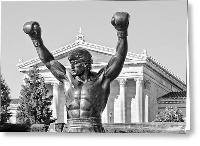 American Art Museum Greeting Cards - Rocky Statue - Philadelphia Greeting Card by Brendan Reals