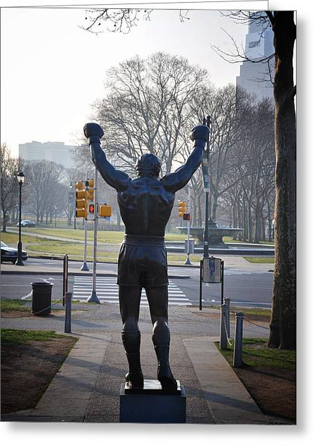 Stallone Greeting Cards - Rocky Statue from the Back Greeting Card by Bill Cannon