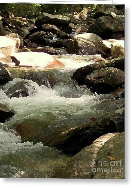 Desiree Paquette Mixed Media Greeting Cards - Rocky Stream 4 Greeting Card by Desiree Paquette