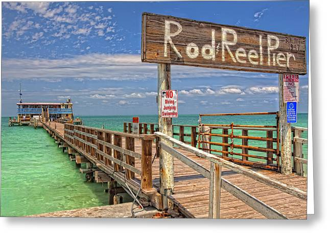 Anna Maria Island Greeting Cards - Rod and Reel Pier Anna Maria Island Greeting Card by Jim Dohms