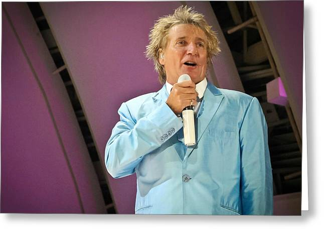 Hollywood Bowl Greeting Cards - Rod Stewart Greeting Card by April Reppucci