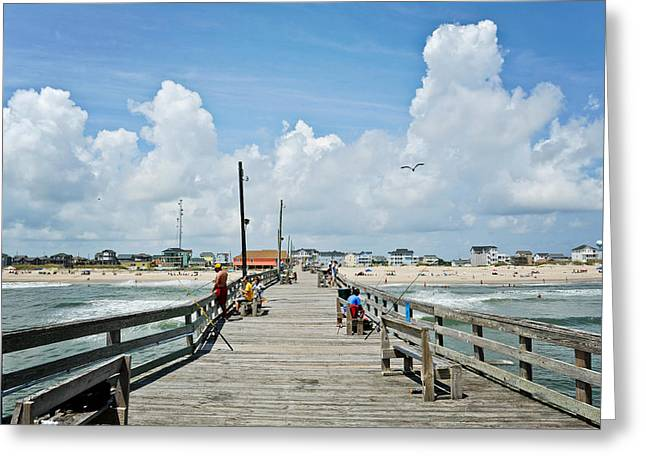 Rodanthe Greeting Cards - Rodanthe Pier Greeting Card by Kelley Nelson