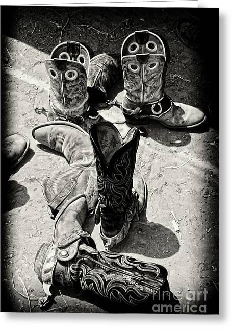 Ventura California Greeting Cards - Rodeo Boots and Spurs Greeting Card by Gus McCrea