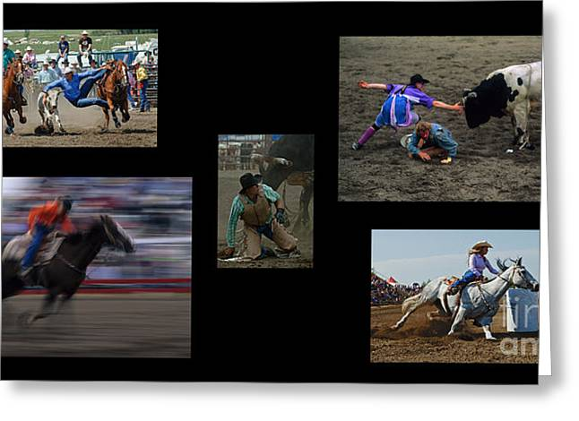 Sports Montage Greeting Cards - Rodeo Magic No Caption Greeting Card by Bob Christopher