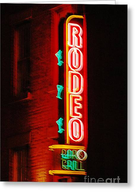 Adspice Studios Art Greeting Cards - Rodeo Neon Sign  Greeting Card by Adspice Studios