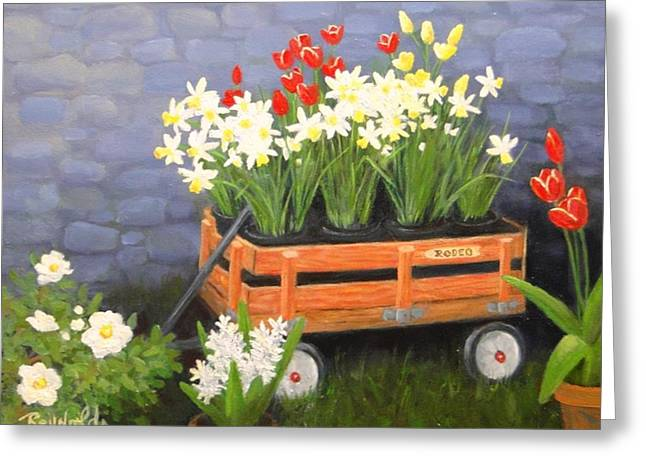 Wooden Wagons Paintings Greeting Cards - Rodeo Wagon Greeting Card by Carol Reynolds