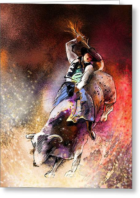 Bull Riding Greeting Cards - Rodeoscape 01 Greeting Card by Miki De Goodaboom