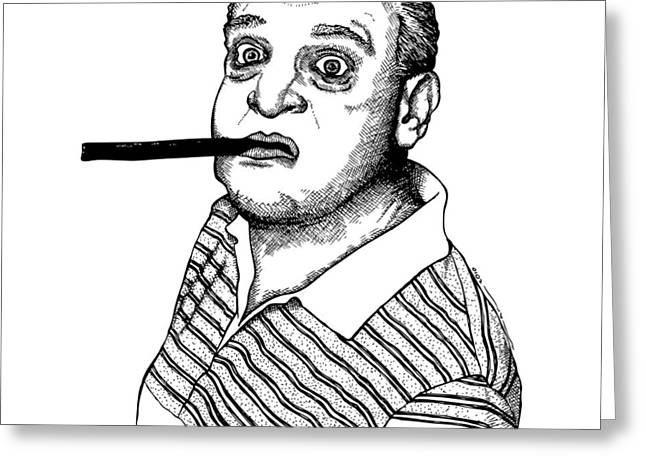 Famous Person Drawings Greeting Cards - Rodney Dangerfield Greeting Card by Karl Addison