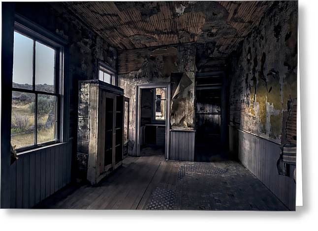 Cabin Window Greeting Cards - ROE - GRAVES HOUSE KITCHEN of BANNACK GHOST TOWN - MONTANA Greeting Card by Daniel Hagerman