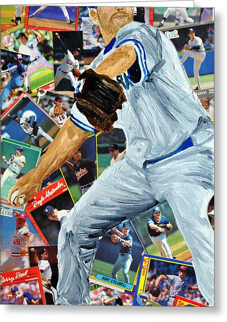 Ballpark Mixed Media Greeting Cards - Roger Clemons Greeting Card by Michael Lee