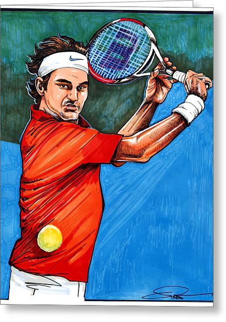 Wta Greeting Cards - Roger Federer Greeting Card by Dave Olsen