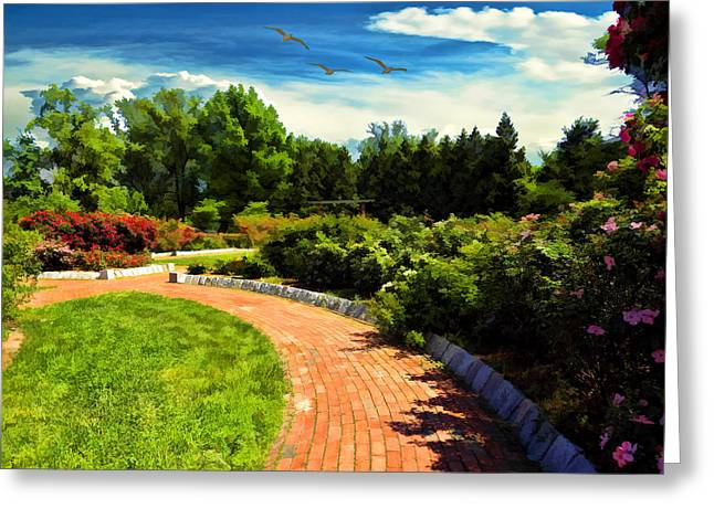 Rogers Photographs Greeting Cards - Roger Williams Japanese Garden Greeting Card by Lourry Legarde
