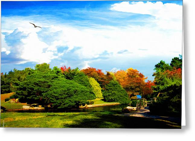 Wildlife In Gardens Greeting Cards - Roger Williams Park Japanese Garden Greeting Card by Lourry Legarde
