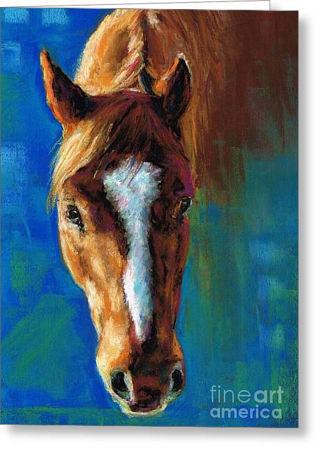 Horse Drawing Greeting Cards - Rojo Greeting Card by Frances Marino