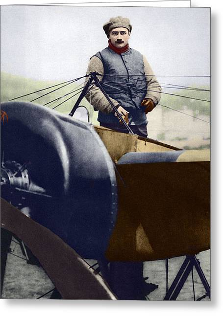 Monoplanes Greeting Cards - Roland Garros, French Aviator Greeting Card by Sheila Terry
