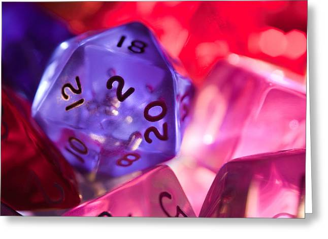 Dungeon Greeting Cards - Role-playing D20 Dice Greeting Card by Marc Garrido