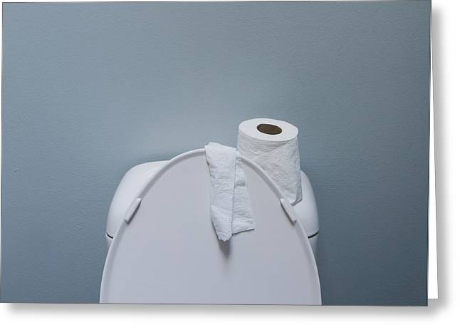 Domestic Bathroom Greeting Cards - Roll of Paper on a Toilet Greeting Card by Marlene Ford