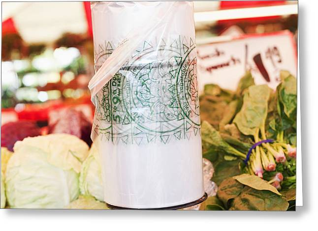Grocery Store Greeting Cards - Roll of Plastic Produce Bags in a Market Greeting Card by Jetta Productions, Inc