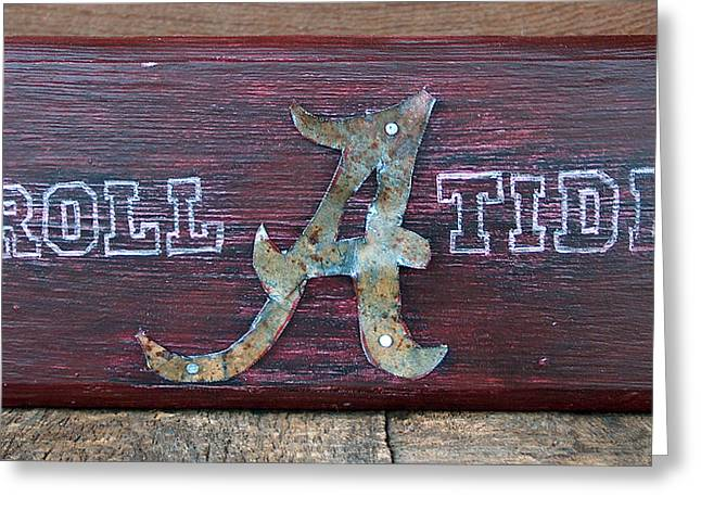 Crimson Tide Mixed Media Greeting Cards - Roll Tide - Medium Greeting Card by Racquel Morgan