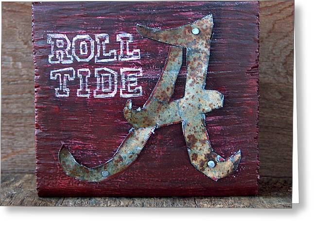 Crimson Tide Mixed Media Greeting Cards - Roll Tide - Small Greeting Card by Racquel Morgan