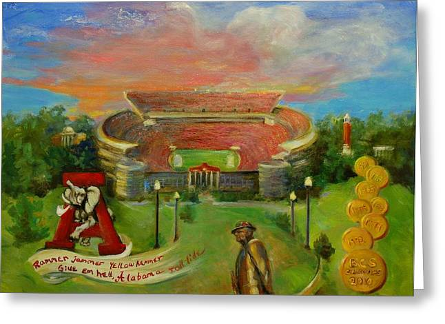 University Of Alabama Greeting Cards - Roll Tide Greeting Card by Ann Bailey