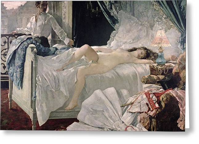 Interior Paintings Greeting Cards - Rolla Greeting Card by Henri Gervex
