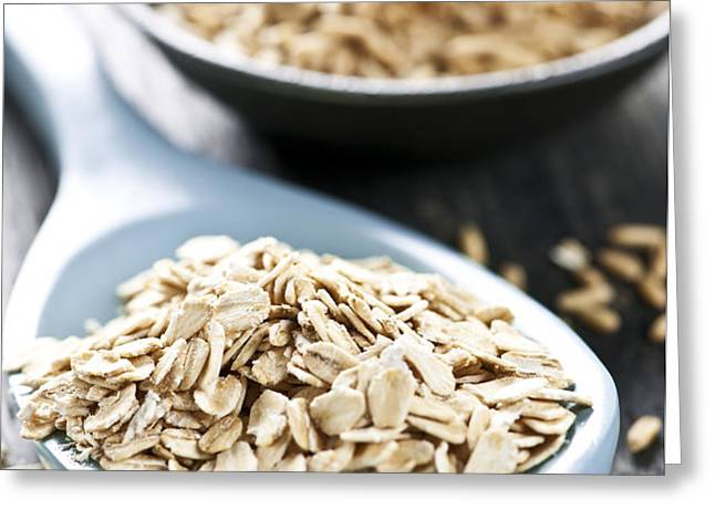 Rolled oats and oat groats Greeting Card by Elena Elisseeva