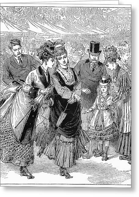 1874 Greeting Cards - Roller Skating, 1874 Greeting Card by Granger