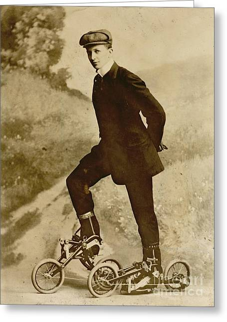Roller Skating Greeting Card by Padre Art