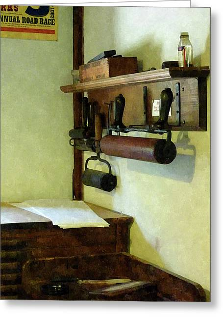 Printmaking Photographs Greeting Cards - Rollers For Printmaking Greeting Card by Susan Savad