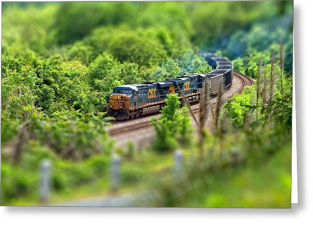 Tilt Shift Greeting Cards - Rollin Round the Bend Greeting Card by Laura George