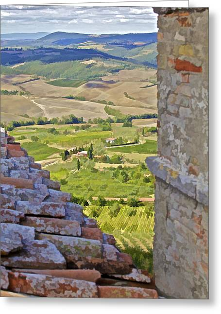 Vineyard Art Greeting Cards - Rolling Hills of Tuscany Greeting Card by David Letts
