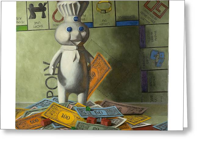 Monopoly Greeting Cards - Rolling in Dough Greeting Card by Judy Sherman