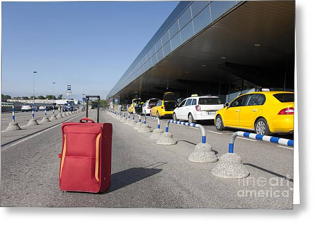 Tallinn Airport Greeting Cards - Rolling Luggage Outside an Airport Terminal Greeting Card by Jaak Nilson