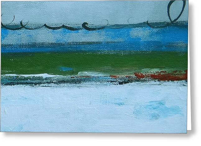 Recently Sold -  - Red Abstracts Greeting Cards - Rolling On The Blue II Greeting Card by Ruth Palmer