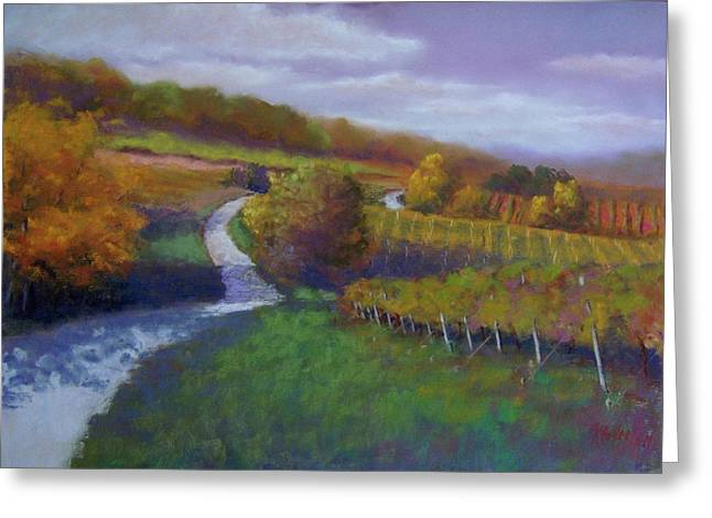 Wine Vineyard Pastels Greeting Cards - Rolling through Retz Wine Country Greeting Card by Marcus Moller