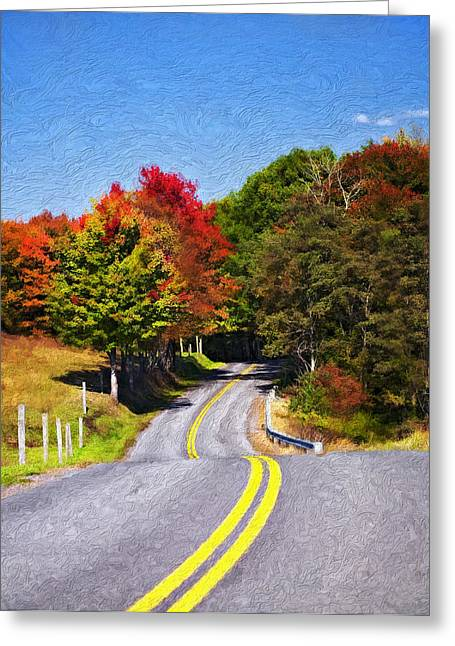 Road Travel Greeting Cards - Rolling Thru West Virginia impasto Greeting Card by Steve Harrington