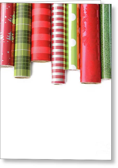 Rolls Of Colored Wrapping  Paper On White3 Greeting Card by Sandra Cunningham