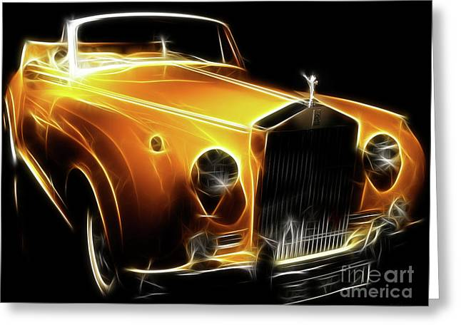 Import Car Greeting Cards - Rolls Royce Gold Greeting Card by Wingsdomain Art and Photography