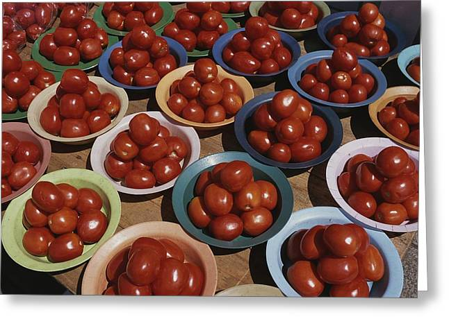 Food Vendors Greeting Cards - Roma Tomatoes Fill Colorful Bowls Greeting Card by Tino Soriano
